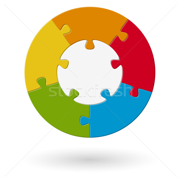 Puzzle round - base with 5 options Stock photo © opicobello