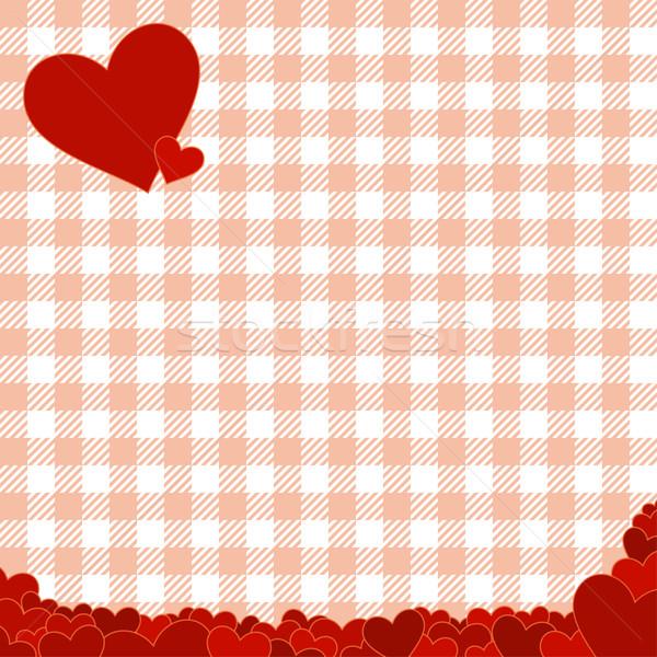 Kockás minta piros szívek szeretet absztrakt Stock fotó © opicobello