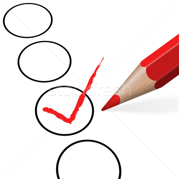 Stock photo: pencil with red check mark