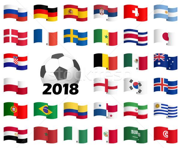Russo futebol jogo equipes bandeiras futebol Foto stock © opicobello