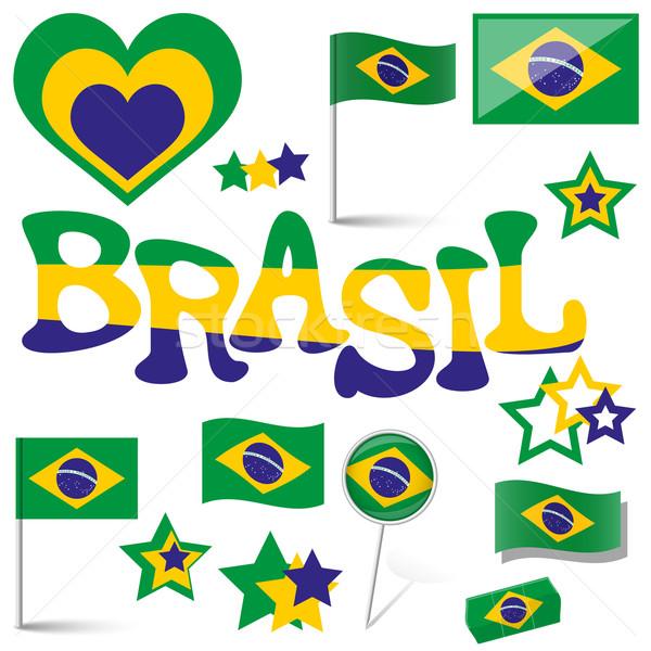 Gyűjtemény Brazília ikonok marketing kellékek futball Stock fotó © opicobello