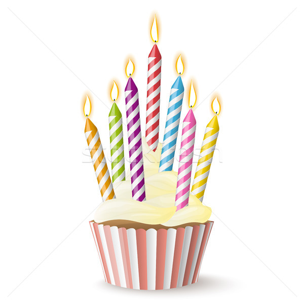 cupcake with candles Stock photo © opicobello