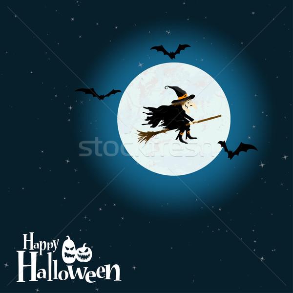 Halloween sorcière pleine lune effrayant illustré Photo stock © opicobello