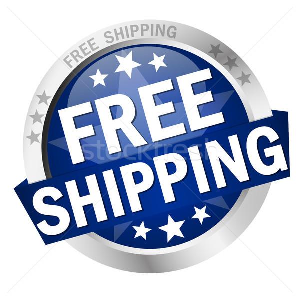 Gomb ingyenes szállítás színes szalag szöveg üzlet Stock fotó © opicobello