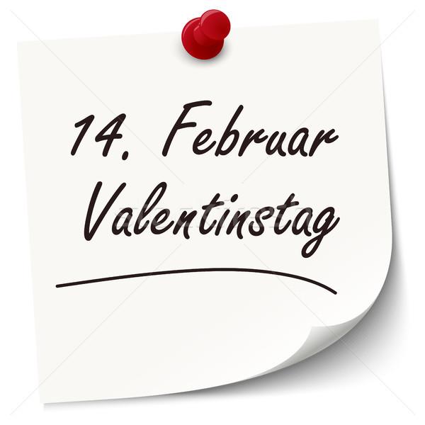 Reminder February 14 Valentine's Day on paper Stock photo © opicobello