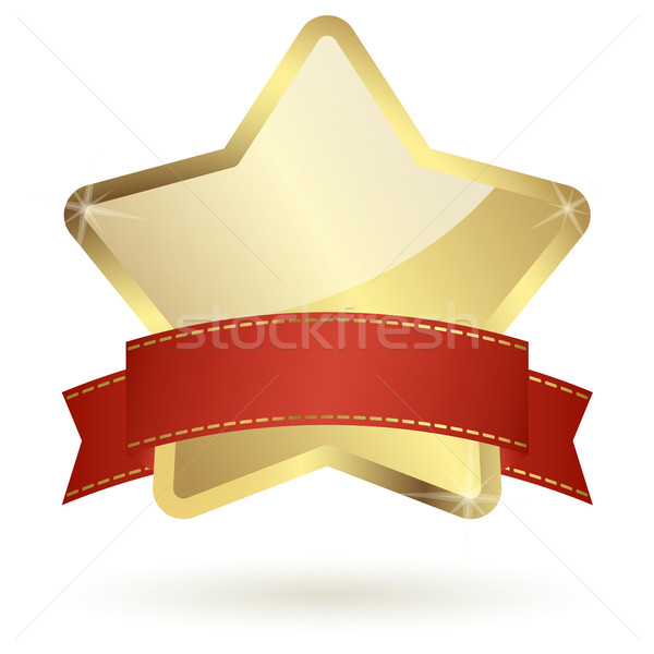 golden star with red banner Stock photo © opicobello