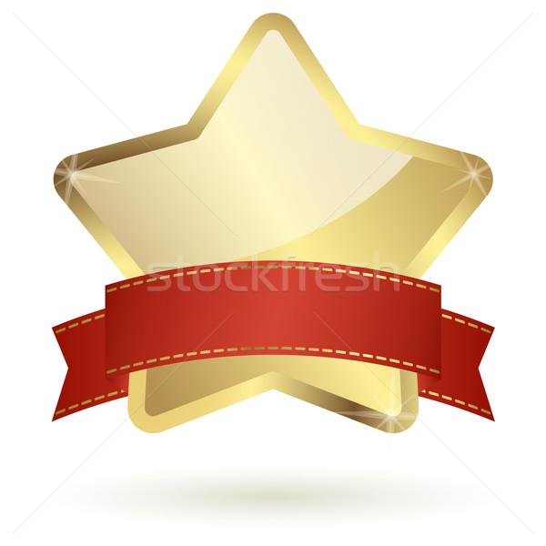 Gouden star Rood banner film goud Stockfoto © opicobello