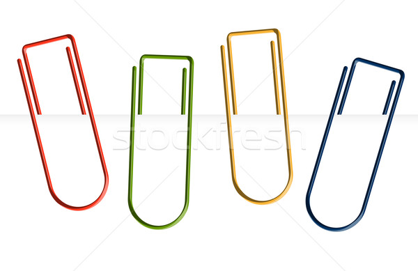 Collection of colorful paper clips - clamped Stock photo © opicobello