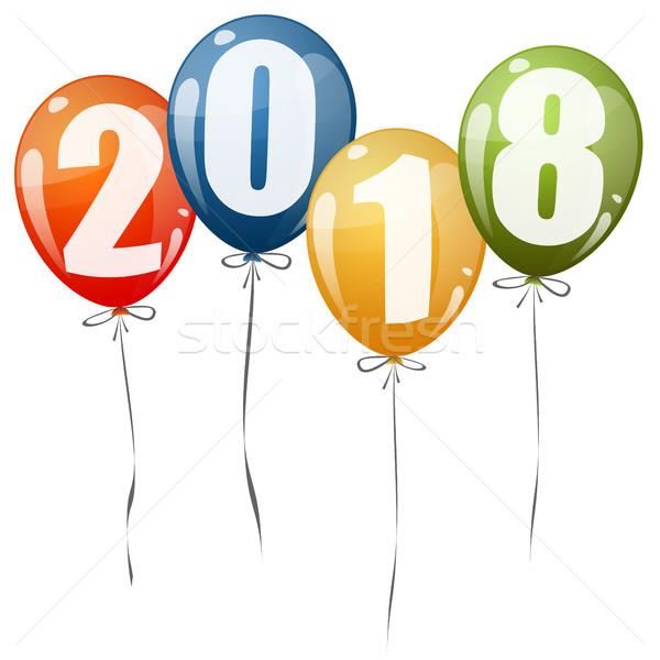 New Year 2018 balloons Stock photo © opicobello