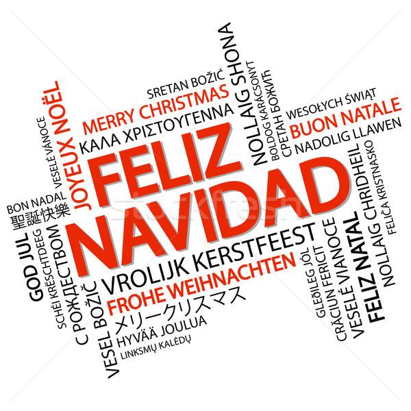 言葉の雲 陽気な クリスマス スペイン語 文字 異なる ストックフォト © opicobello