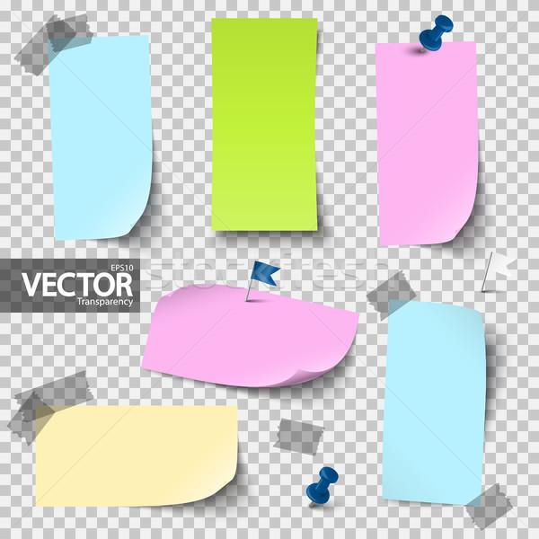 üres színes papírok kellékek vektor átláthatóság Stock fotó © opicobello