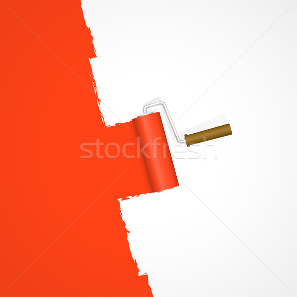 Stock photo: repainting with paint roller