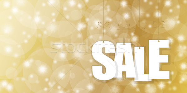 SALE hang tags on golden background Stock photo © opicobello