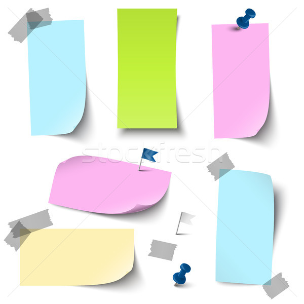 empty colored papers with accessories Stock photo © opicobello