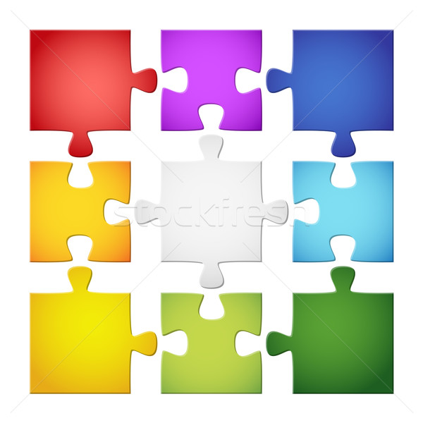 Gekleurd puzzelstukjes groene Blauw witte spel Stockfoto © opicobello