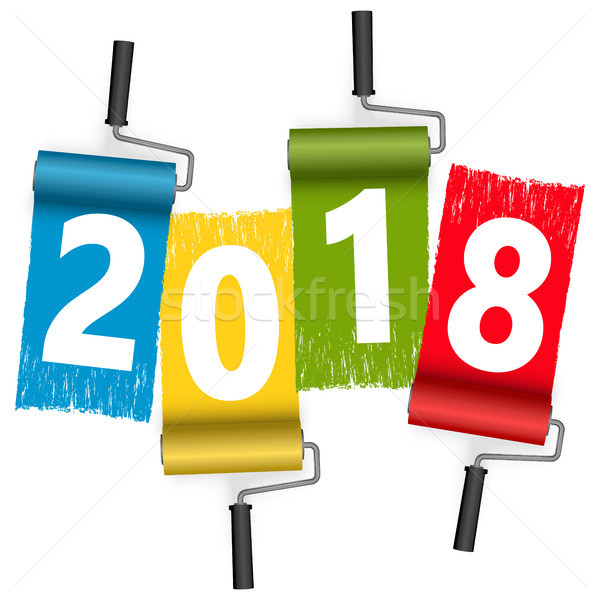 paint roller concept New Year 2018 Stock photo © opicobello