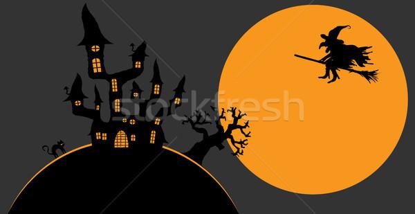 Scary halloween donkere kasteel heks volle maan Stockfoto © opicobello