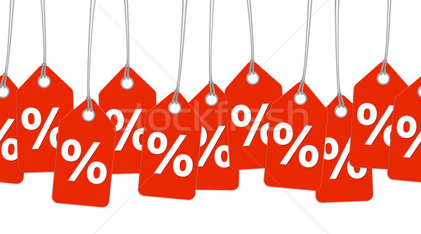 Stock photo: red pendants with % signs - endless