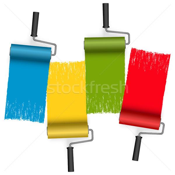 четыре цветами краской стены фон Живопись Сток-фото © opicobello