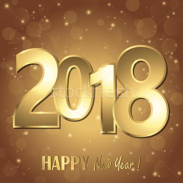 Feliz ano novo dourado números marrom tempo Foto stock © opicobello