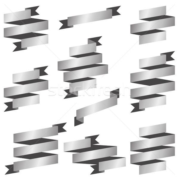 коллекция серебро Баннеры большой ретро вектора Сток-фото © opicobello