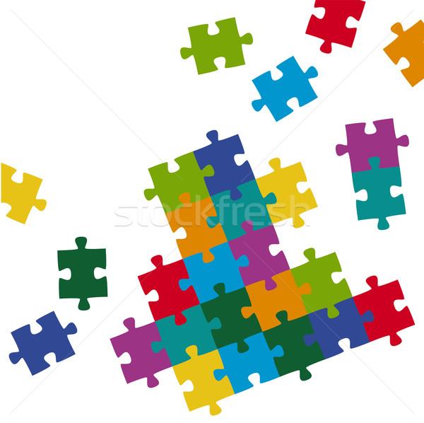 Pezzi del puzzle colorato bambino sfondo squadra puzzle Foto d'archivio © opicobello