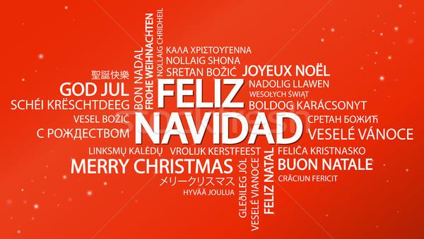 Woordwolk vrolijk christmas spaans tekst verschillend Stockfoto © opicobello