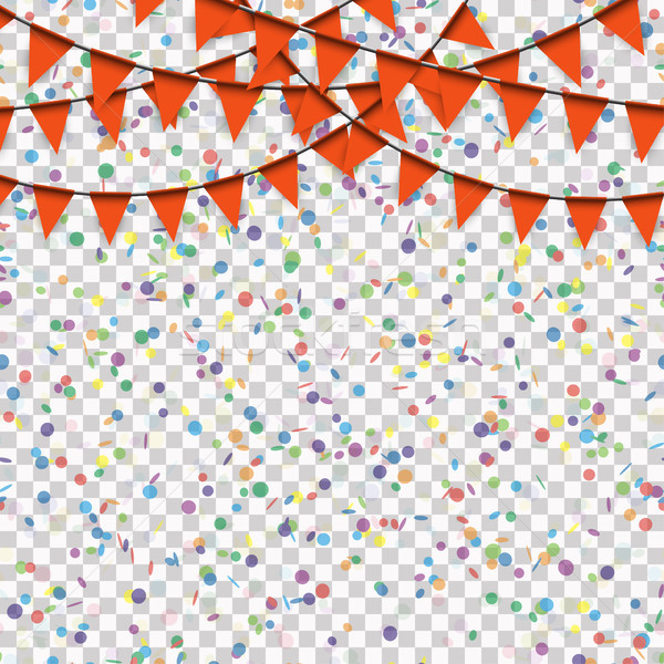 garlands and confetti background with vector transparency Stock photo © opicobello