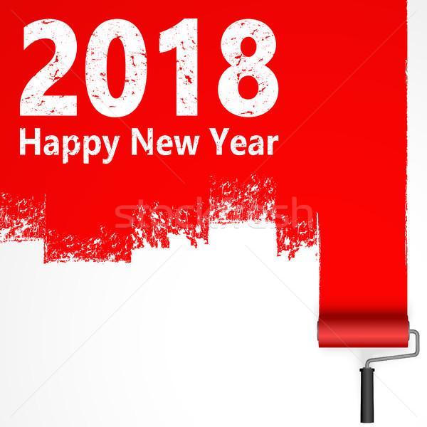 paint roller concept New Year 2018 Stock photo © opicobello
