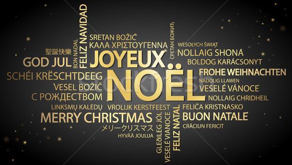 Nuvem da palavra alegre natal francês texto diferente Foto stock © opicobello