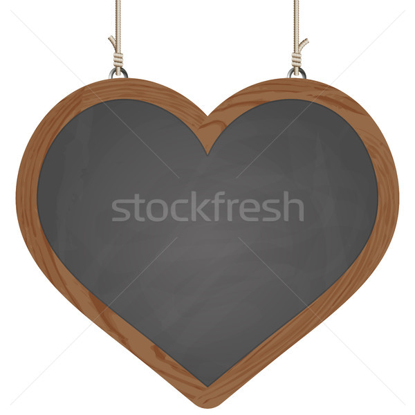 heart board hanging on ropes Stock photo © opicobello