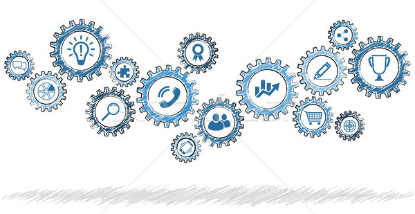 scribble gears with different business icons Stock photo © opicobello