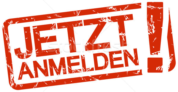 Stock photo: red stamp with text Jetzt anmelden
