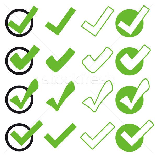 collection green check marks Stock photo © opicobello