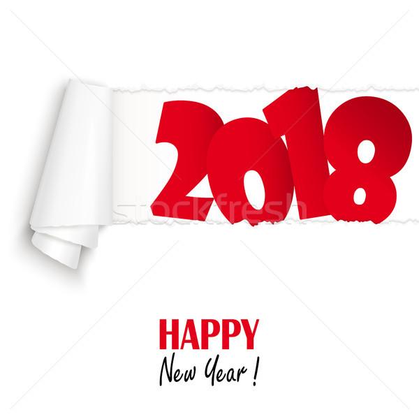 Ano novo abrir branco papel Foto stock © opicobello