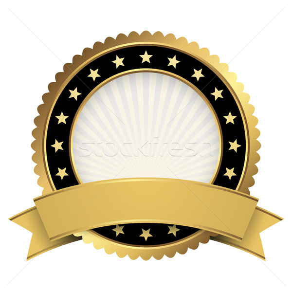 Button template gold and black with golden banner Stock photo © opicobello