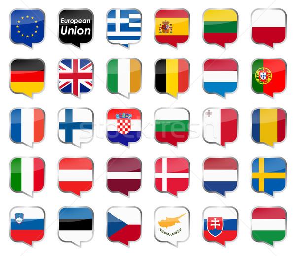 Eu land vlaggen collectie europese Stockfoto © opicobello