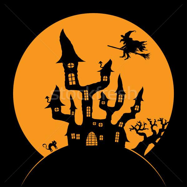 怖い ハロウィン 暗い 城 魔女 満月 ストックフォト © opicobello