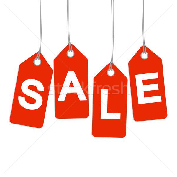 Piros vásár felirat pénzügy bolt hirdetés Stock fotó © opicobello