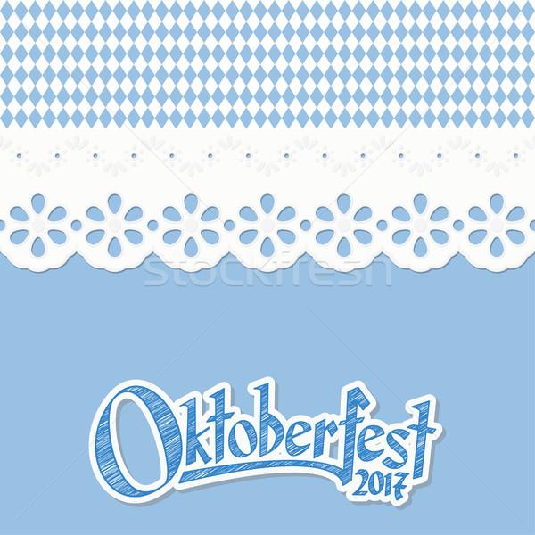 Pattern oktoberfest blu bianco testo Foto d'archivio © opicobello