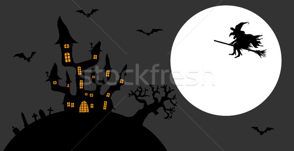 Scary halloween ciemne zamek witch pełnia księżyca Zdjęcia stock © opicobello
