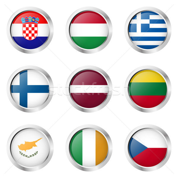 Foto stock: País · adesivos · Irlanda · Grécia · Finlândia · assinar