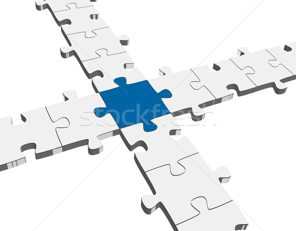 three dimensional puzzle connection Stock photo © opicobello