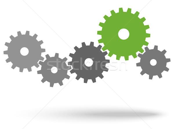 歯車 協力 シンボリズム グレー チームワーク 緑 ストックフォト © opicobello