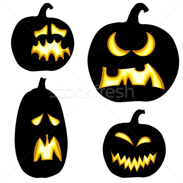 Inny halloween kolekcja czarny kolorowy ilustrowany Zdjęcia stock © opicobello