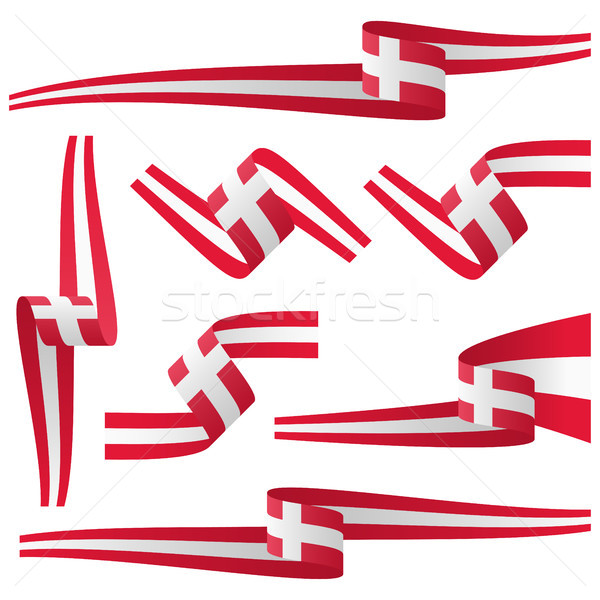 Collectie land vlag banners zeven verschillend Stockfoto © opicobello