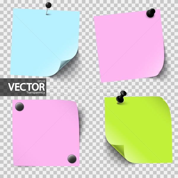 colored sticky papers with vector transparency Stock photo © opicobello