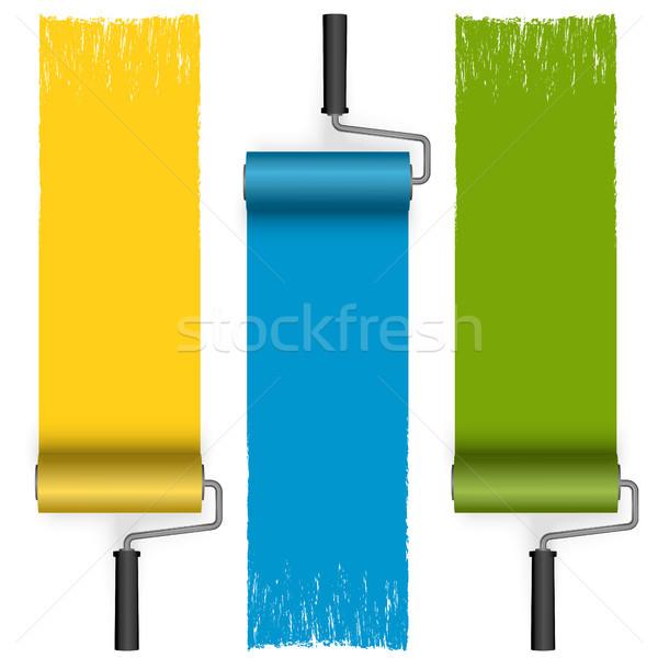 Festék gyűjtemény festett különböző színek fal Stock fotó © opicobello