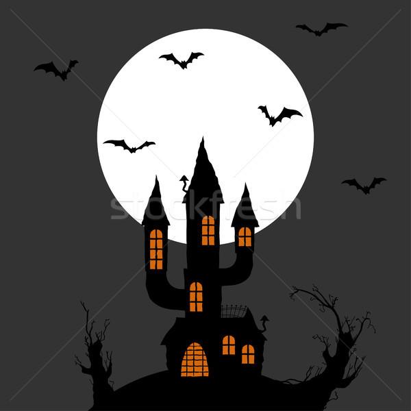 Halloween scary kasteel donkere volle maan geïllustreerd Stockfoto © opicobello