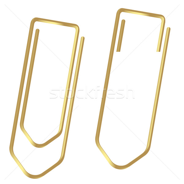 Paperclips clamped gold Stock photo © opicobello